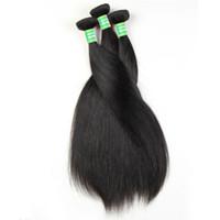 tejidos en línea al por mayor-Cabello liso natural sedoso 3 paquetes 8-28 pulgadas Cabello humano teje Pelucas de cabello humano barato Pelos brasileños Pelos peruanos en línea