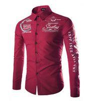 красные черные белые формальные платья оптовых-Mens  Slim Fit Casual Shirts Long Sleeve Formal Business Dress Shirt Tops Black White Red