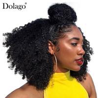 Wholesale afro hair for braiding resale online - Human Braiding Hair Bulk No Weft Afro Kinky Curly Bulk Hair For Braiding Mongolian Remy Crochet Braids Dolago Hair