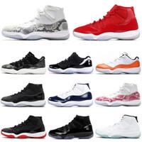 tenis 13 venda por atacado-Nike Ar Jordânia Retro 11s Tênis De Basquete 11 Snakeskin Concord 45 Cap e Vestido Dos Homens Formadores Sports Sneakers 7-13