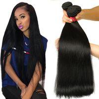 шелковистые человеческие волосы оптовых-8а бразильские прямые волосы девственницы 3/4 связки необработанные бразильские девственные прямые человеческие волосы плетения перуанский малайзийский шелковистые прямые волосы