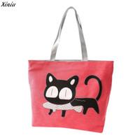 kedi marka poşetler toptan satış-2018 Ünlü Marka Kadın çantası Moda Kadın Kedi Bayanlar Büyük Alışveriş Çantası Kadın Tuval Rahat Plaj Çantaları Tote Bolsos