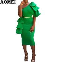 ingrosso tuniche di usura del partito-Donna Vestito aderente verde Una spalla Cena sexy Backless Ruffles Party Vestido Lady Club Abbigliamento da sera Evening Tunic Slim Femme Robes
