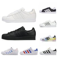 Wholesale stars resale online - Cheap Leather Super Star Superstar Casual Shoes White Hologram Iridescent Junior Men Superstars s sneakers Pride Women Mens Trainers