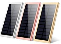 bancos de baterías solares al por mayor-Caída Batería portátil Banco de energía solar 20000 mah Cargador de energía móvil LED Lámpara de camping Linterna Dual USB Panel impermeable para teléfono celular