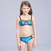 bikinis 12 años al por mayor-Bikini para niños Traje de baño para niños Traje de baño para niña adolescente 3-12 años Niños dos piezas trajes de baño