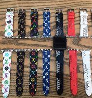 relogios de pulso unisex venda por atacado-16 estilos carta de impressão designer de pulseira de relógio de couro para iwatch 38mm 40mm 42mm 44mm tamanho bandas pulseira unissex pulseiras de luxo gga2453