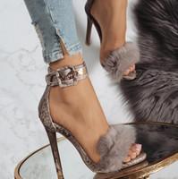 cabelo coelho sexy venda por atacado-NOVA Designer de mulheres de salto alto partido moda Real cabelo meninas coelho sexy apontou sapatos Sapatos de dança sapatos de casamento Sandálias alças duplas
