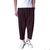 pantalon en lin noir hommes achat en gros de-plus la taille 4XL 5XL hommes pantalons hip-hop sarouel d'été en lin de coton lâche taille élastique noir pantalon masculin pantalon occasionnel jogger