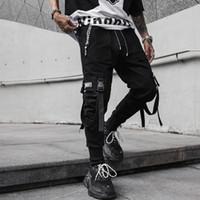 rahat erkek kargo pantolonları toptan satış-Erkek Streetwear Hip Hop Punk Kargo Pantolon Yüksek Sokak Pantolon Erkekler Moda Rahat Harem Pantolon Jogging Yapan Sweatpants