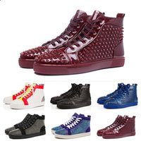 Wholesale oxford shoes mens fashion resale online - 2019 Luxury Fashion Genuine Leather Spikes Red Bottom Oxford Dress Shoes Mens Womens Designers boots High Top Casual Shoes