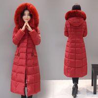 ingrosso giacca imbottita lunga-lungamente grande cotone collare di lana imbottitura invernale giacca di cotone grandi dimensioni donne di modo delle donne abbigliamento giù parka