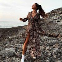 melhores padrões de vestido venda por atacado-OMKAGI Best Selling Moda Padrão de Leopardo Encobrir Longo Cardigan Solto Mulheres Praia Swimsuit Mulheres Swimwear Vestido de Praia