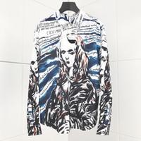 polka dot kleid hemden für männer groihandel-Kunst Jungfrau Graffiti druckte Plaid-Tupfen-Mann-Hemd-langärmliges beiläufige Hemden für Männer Slim Fit Male Kleid Shirts Camisas Masculina