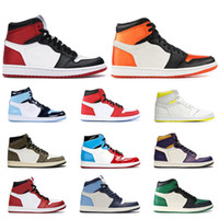 Wholesale high cut gym shoes resale online - 1s men basketball shoes high mid top Satin Black Toe Gym red SPIDERMAN UNC TURBO GREEN Court Purple banned mens sports sneakers