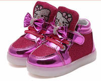 Wholesale hello kitty girl shoes resale online - Kids Casual Lighted Shoes Girls Glowing Sneakers Children Hello Kitty Shoes With Led Light Baby Girl Lovely Boots
