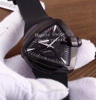 homens triângulo relógio venda por atacado-Homens Relógios Esportivos Automático Eta 2824 Triangle Watch Men Preto PVD Ventura XXL Elvis Presley Aniversário H24615331 Mens Rubber Wristwatches