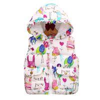 куртки для животных оптовых-Children Clothing Winter Outerwear Coats Animal Graffiti Thick Princess Girls Vest Hooded Kids Jackets Baby Girl Warm 2018