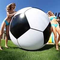 fußballspielzeug pvc großhandel-150 cm Riesen Aufblasbarer Wasserball Große Dreifarbige Verdickte PVC Wasser Volleyball Fußball Outdoor Party Kinder Spielzeug