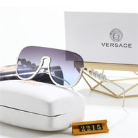 Wholesale metal square sun glasses resale online - mens sunglasses natural fashion sports rimless Versaçe glasses metal frame buffalo horn sun glasses black pink lenses gold silver