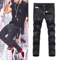 cortes de jeans venda por atacado-Homem Preto Feroz Corte Reto Motociclista Jeans Slim Fit Dano Furo Rasgado Pintar Calças Jeans Grande Tamanho 38