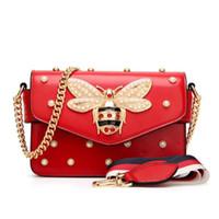 ingrosso piccoli borse bianche-Nuove donne famose di marca borse a tracolla piccola catena borse a tracolla femminile lusso borsa a tracolla perla borsa 2018 rosso bianco nero