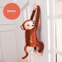 macaco brinquedos de boxe venda por atacado-Criativo PIPI Macaco Caixa de Tecido Titular Tecido Bonito Brinquedo Dos Desenhos Animados Animal Tecido Suporte de Papel Caso para Carro Casa de Banho Cozinha Escritório atacado