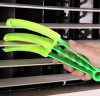 ingrosso lama air brush-3-Blade Window Blinds Brushes Air Condition Cleaner Shutter Home Tool Spazzola di pulizia della polvere multifunzione Clip 200pcs