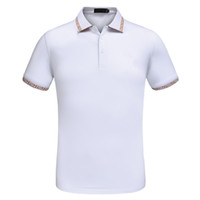 рубашка италия рубашка оптовых-Italy Brand Mens Designer Polo Shirt Short Sleeve Turn Down Lapel Black and White Polo Designer Hommes
