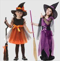 chapéus de vestido para crianças venda por atacado-Costumes Dia das Bruxas caçoa Bruxa Com Hat Cosplay Mostra Trajes Meninas bruxas Gabardinas bruxas macacões Dress Up