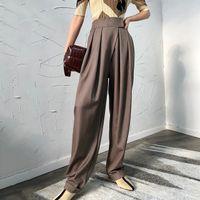 pantalones anchos coreanos al por mayor-Pantalones harem negros ocasionales para las mujeres de cintura alta suelta pantalones de pierna ancha mujer 2019 marea de la moda coreana de primavera