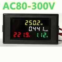 dc panel ampermetre toptan satış-4in1 Hd Renkli Ekran Led Ekran 180 Derece Kusursuz Panel Voltmetre Ampermetre Enerji Ölçer Aktif Güç Ac 80 -300v 100a