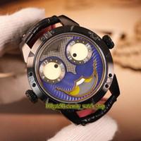уникальные часовые пояса оптовых-Уникальный улыбающееся лицо творчество Константин Чайкин Джокер синий Джокер циферблат швейцарский кварцевые мужские часы CNC шлифовка черный чехол Кожаный ремешок часы