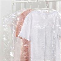 ingrosso sacchetti di stoccaggio di plastica-100PCS plastica trasparente antipolvere copertura dell'indumento dei vestiti appesi Pocket Bag storage armadio Abbigliamento Hanging