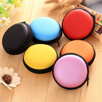 Small Round Pocket Earbud Travel Carrying Case for Smartphone Earphone Headset Storage Hard EVA Headphone Box Case for Kids