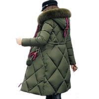 dama de lujo chaqueta abajo al por mayor-Gran abrigo de invierno de pieles de lujo engrosada parka mujeres diseñador de costura delgado abajo cubren invierno largo señoras del algodón abajo parka mujeres chaqueta