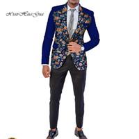 ingrosso vestiti di cerimonia nuziale superiore-Abiti da sposa Blazer Abbigliamento uomo africano Dashiki Bazin Riche Ankara Completi giacche Abiti formali Top Cappotto Dashiki Party WYN512