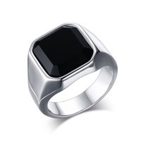 jóias de ágata para venda venda por atacado-2019 hot sale titanium aço inoxidável moda 8mm ágata preta anéis para homens jóias casais cubic zirconia anéis de casamento bague femme