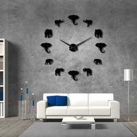grandes espejos modernos al por mayor-37 pulgadas Selva Animales Elefante DIY Reloj de Pared Grande Decoración para el hogar Diseño Moderno Efecto Espejo Gigante Sin Marco Elefantes Reloj Reloj DIY