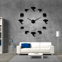 modernos, parede, relógios, grande venda por atacado-37inch selva animais elefante diy grande relógio de parede home decor design moderno espelho efeito gigante sem moldura elefantes diy relógio relógio