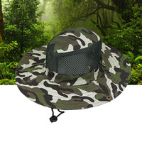 Wholesale army hats for women online - Boonie Hat Sport Camouflage Jungle Military Cap Adults Men Women Cowboy Wide Brim Hats For Fishing Packable Army Bucket Hat AAA1875