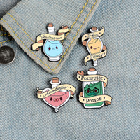 Wholesale clothes pins resale online - Magic potion enamel pins Cartoon bottle badges Good luck love transformation truth brooches Lapel clothes pin Movie jewelry gift for kid