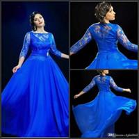 robes de soirée bleu royal france achat en gros de-2019 Nouveau Design Formel Royal Blue Sheer Robes De Soirée Avec 3 4 Manches Longues Robes De Bal UK Plus La Taille Robe Pour Grosses Femmes Robe De Noiva