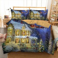 Wholesale bedding set merry christmas online - Xmas Bedding Set Merry Christmas Duvet Cover Pillow Cases Twin Full Queen King Single Size D Bed Linen Set