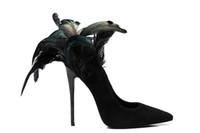 sapatos de noiva emplumados venda por atacado-Zapatos de mujer preto de salto alto sapatos de noiva de penas mulher apontou toe deslizamento em stiletto scarpin escritório senhoras bombas femininas