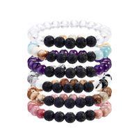 Wholesale women wrist charms for sale - Group buy Fashion Crystal Wrist Mala Beads bracelet Pink bracelet For Men Gifts Volcanic Lava Yoga Women Charms Hand made Stone Bracelets M210Y