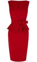 Setwell Red V-neck Sheath Evening Dress Cap Sleeves Short Length Pleated Peplum Prom Gown With Belt