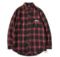 ingrosso camicia di coppia rossa-Camicia Fashion-Mens Summer Classic Plaid Print Designer Camicie Street Pop Stussy Shirt Rosso Giallo Bianco Lettere di alta qualità Coppia Top