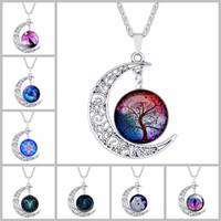 galaxie raum halskette großhandel-84 Design Cabochons Glas Mond Halsketten für Frauen Männer Baum des Lebens Sternzeichen Blume Wolf Nebel Raum Galaxy Anhänger Ketten Schmuck