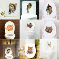 ingrosso adesivi di arte del bagno-Hole View Vivid Cats Dog 3D Wall Sticker Bagno Wc Soggiorno Cucina Decorazione Animale Vinyl Decalcomanie Art Sticker Poster